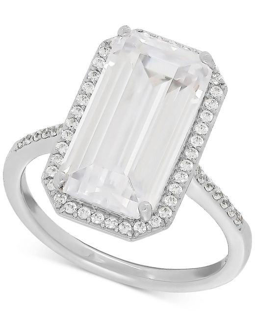 Macy's | Metallic Swarovski Zirconia Statement Ring In Sterling Silver | Lyst