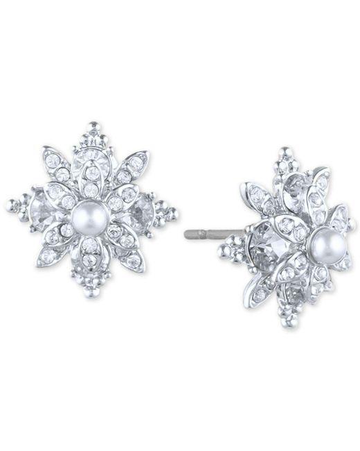 Marchesa - Multicolor Pavé & Imitation Pearl Flower Stud Earrings - Lyst