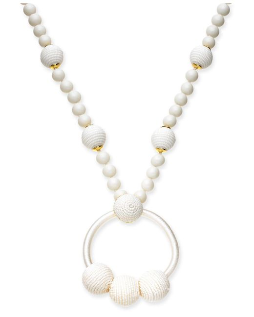 "Kate Spade - White Gold-tone Beaded & Wrapped Pendant Necklace, 28"" + 3"" Extender - Lyst"