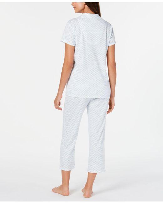 37e50083ea4 Women's Blue Knit Floral-print Cropped Pants Pajamas Set