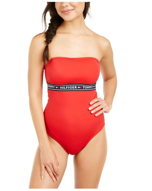 Tommy Hilfiger Red Logo Tape Bandeau One-piece Swimsuit