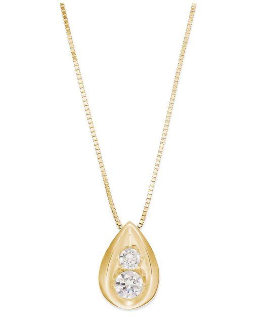 Macy's - Metallic Diamond Teardrop Pendant Necklace In 14k Gold (1/4 Ct. T.w.) - Lyst