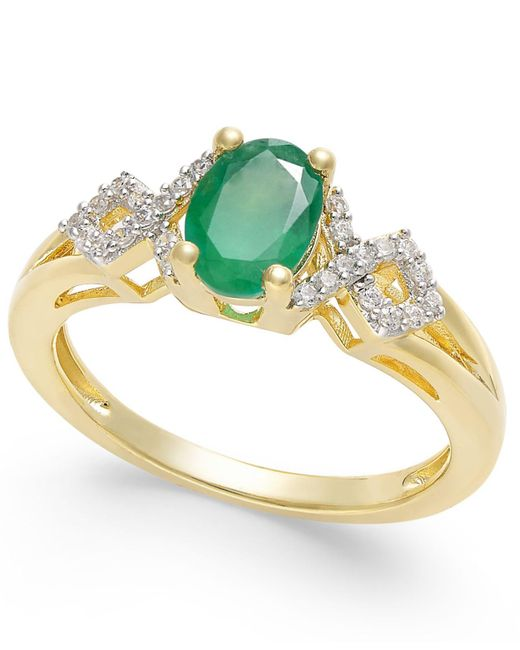 Macy's - Green Emerald (5/8 Ct. T.w.) And Diamond (1/8 Ct. T.w.) Ring In 14k Gold - Lyst