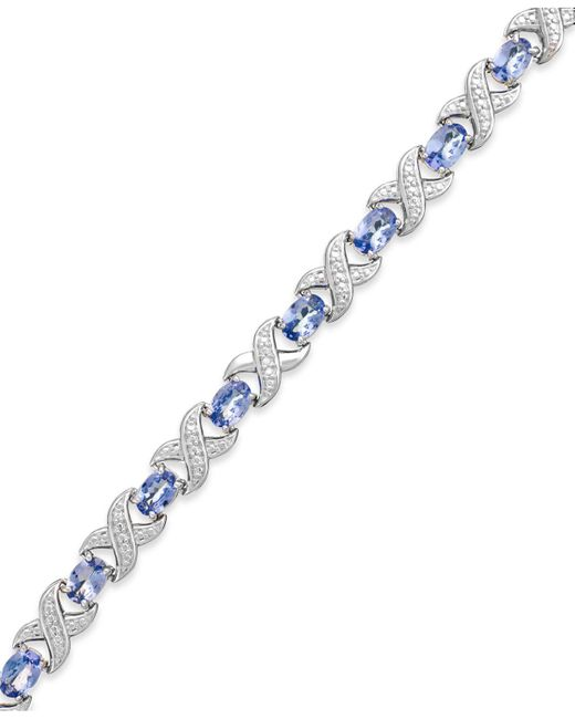 Macy's Metallic Tanzanite (7 Ct. T.w.) And Diamond Accent Xo Bracelet In Sterling Silver