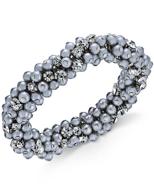 Charter Club - Metallic Silver-tone Crystal & Gray Imitation Pearl Cluster Bracelet - Lyst