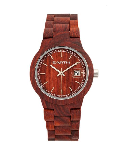 Earth Wood - Biscayne Wood Bracelet Watch W/date Red 38mm - Lyst
