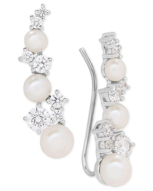 Arabella - Metallic Cultured Freshwater Pearl (3-1/2 - 5-1/2mm) & Swarovksi Zirconia Ear Climbers - Lyst