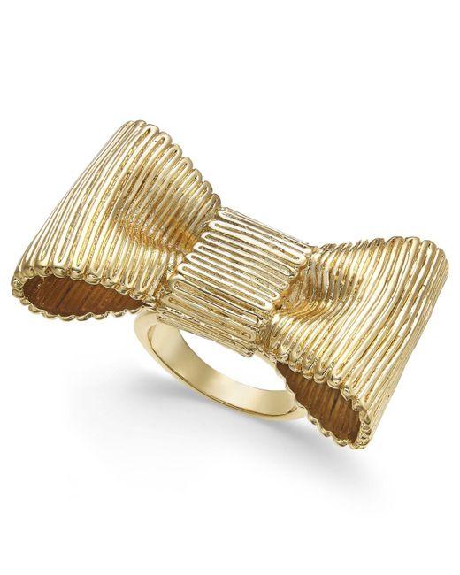 Kate Spade | Metallic Gold-tone Bow Statement Ring | Lyst