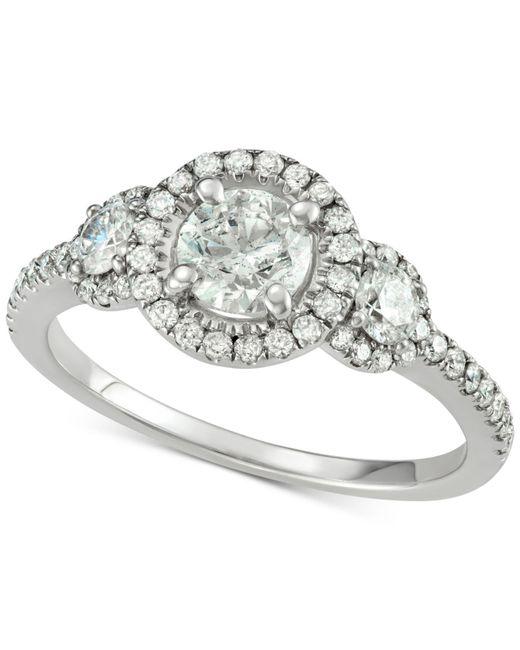 Macy's - Metallic Diamond Triple Halo Engagement Ring (1-5/8 Ct. T.w.) In 14k White Gold - Lyst