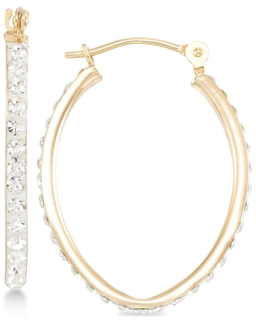 Macy's | Metallic Crystal Pavé Tapered Hoop Earring In 10k Gold | Lyst