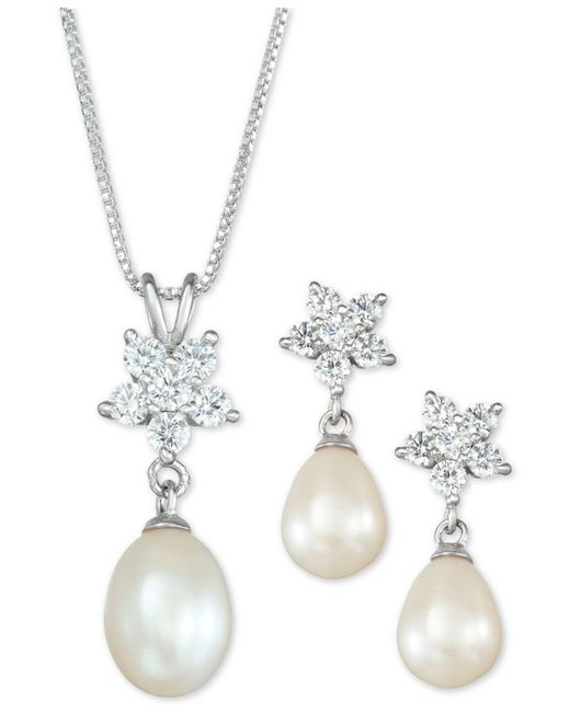 Macy's - Metallic Cultured Freshwater Pearl (7 X 9mm) And Cubic Zirconia Pendant Necklace And Drop Earrings Set In Sterling Silver - Lyst