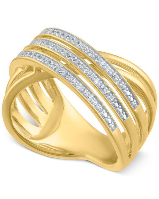 Macy's Metallic Diamond Crisscross Statement Ring (1/4 Ct. T.w.)
