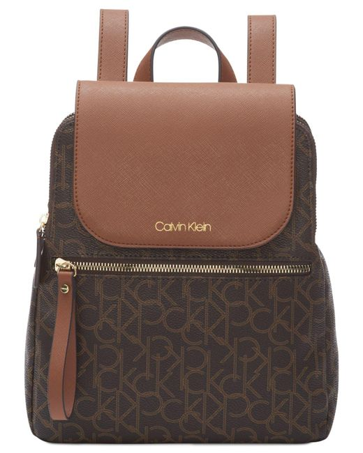 3b9771f6c3fe Lyst - Calvin Klein Signature Elaine Backpack in Brown - Save 49%