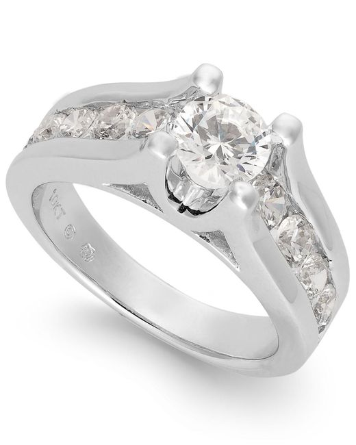 Macy's - Metallic Certified Diamond Channel Engagement Ring In 14k White Gold (2 Ct. T.w.) - Lyst
