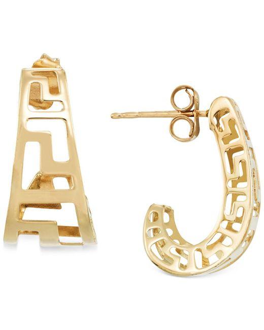 Macy's - Gray Greek Key J-hoop Earrings In 14k Gold - Lyst