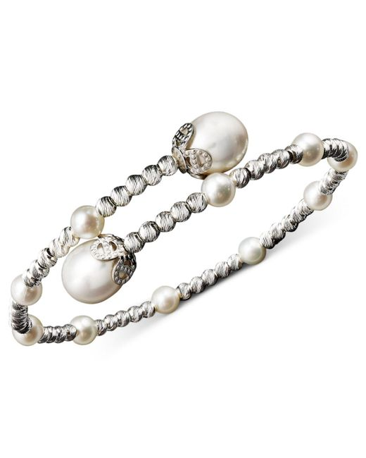 Macy's - Metallic Pearl Bracelet, Sterling Silver Cultured Freshwater Pearl (4-1/2mm And 8-1/2mm) Sparkle Bead Cuff Bracelet - Lyst