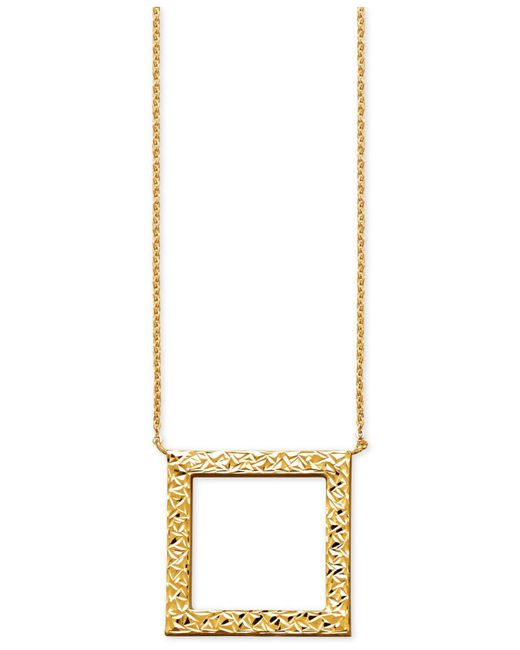 Macy's - Metallic Textured Open Square Pendant Necklace In 14k Gold - Lyst