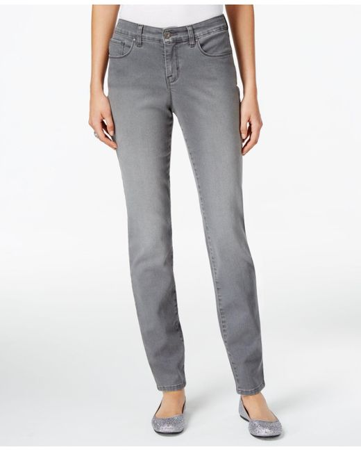 Style & Co. Gray Curvy Tummy-control Grey Wash Skinny Jeans, Only At Macy's