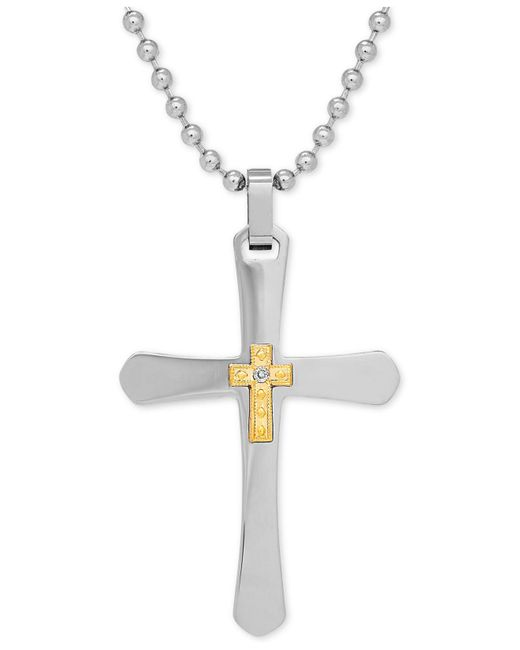 Macy's | Metallic Men's Diamond Accent Two-tone Cross Pendant Necklace In Stainless Steel And 10k Gold for Men | Lyst