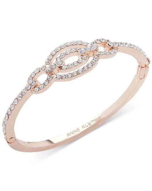 Anne Klein - Metallic Rose Gold-tone Pavé Link Bangle Bracelet - Lyst