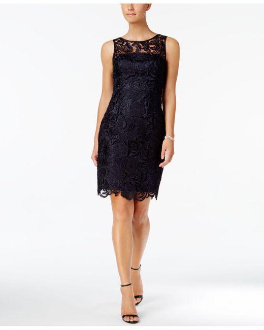 Adrianna Papell - Blue Dress, Sleeveless Lace Sheath - Lyst