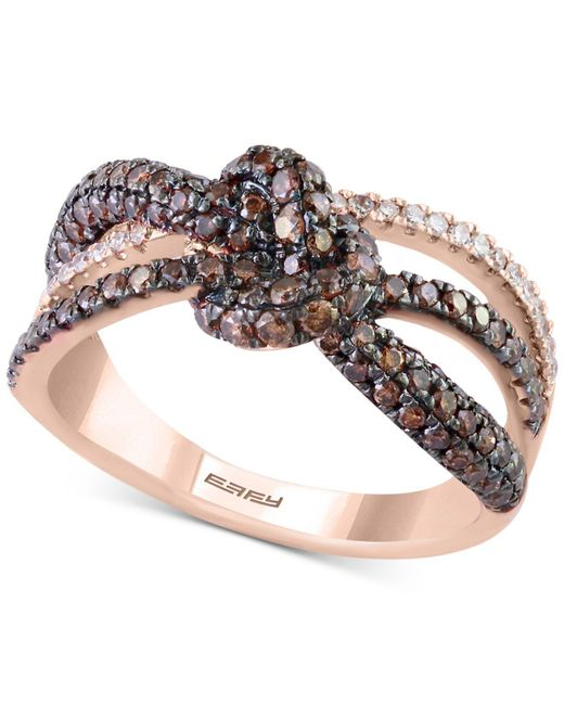 Effy Collection - Metallic Diamond Love Knot Ring (1-1/10 Ct. T.w.) In 14k Rose Gold - Lyst