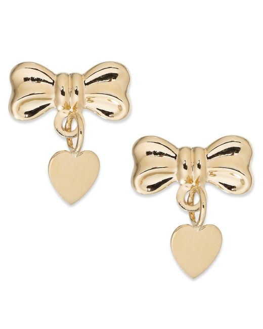 Macy's - Metallic Bow And Heart Drop Earrings In 14k Gold - Lyst