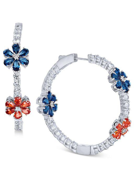 "Joan Boyce - White Flower Crystal Pavé 1-1/2"" Hoop Earrings - Lyst"