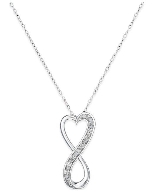Macy's - Metallic Diamond Infinity Heart Pendant Necklace In Sterling Silver (1/10 Ct. T.w.) - Lyst