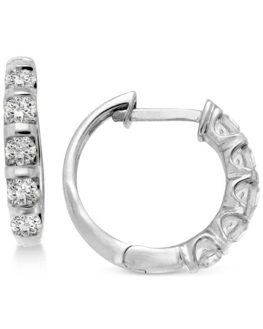Macy's | Metallic Diamond Five-stone Hoop Earrings (1/2 Ct. T.w.) In 14k White Or Yellow Gold | Lyst