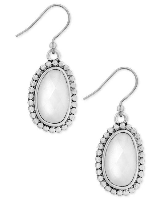 Lucky Brand - Metallic Silver-tone Imitation Pearl Oval Drop Earrings - Lyst