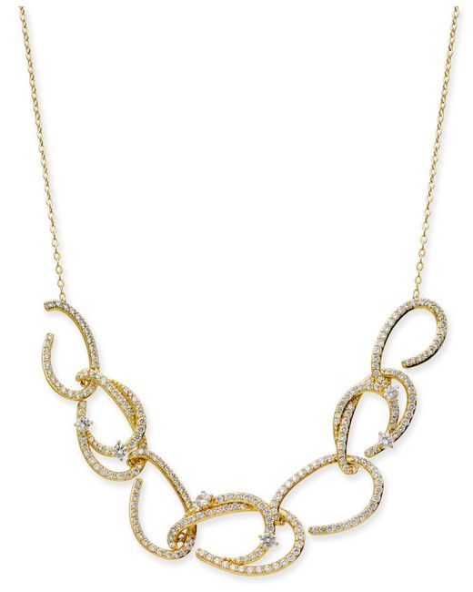 "Danori - Metallic Gold-tone Pavé Link Statement Necklace, 16"" + 2"" Extender, Created For Macy's - Lyst"