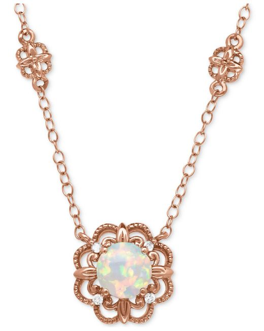 Macy's | Metallic Opal (1/2 Ct. T.w.) With Diamond Accent Filigree Floral Pendant Necklace In 14k Rose Gold | Lyst