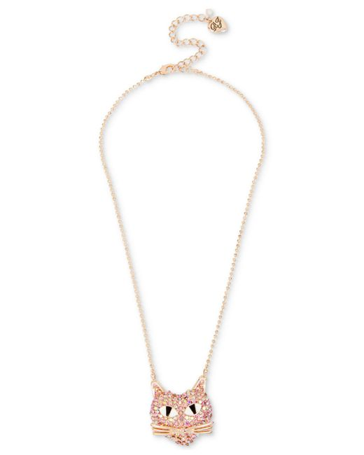 Betsey Johnson - Rose Gold-tone Pink Pavé Cat Pendant Necklace - Lyst