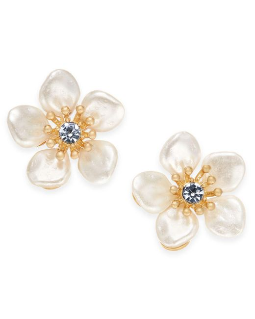 Lonna & Lilly - Metallic Gold-tone Crystal & Imitation Pearl Flower Stud Earrings - Lyst