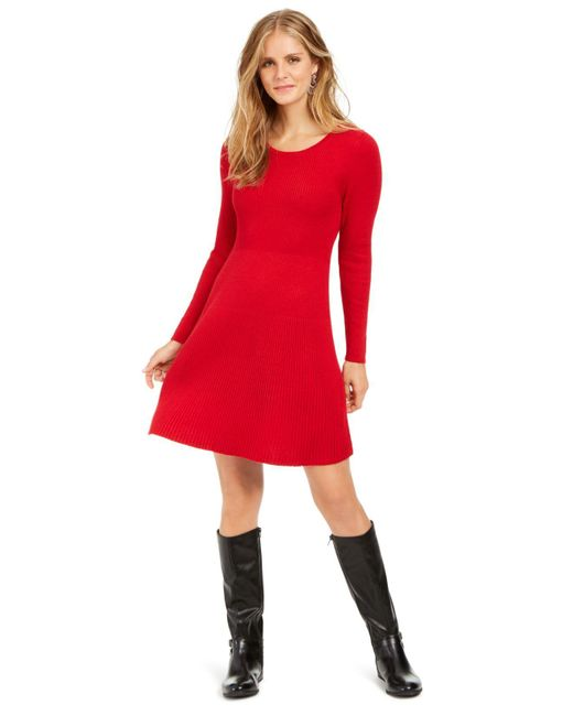 Style & Co. Red Ribbed-knit Sweater Dress, Created For Macy's