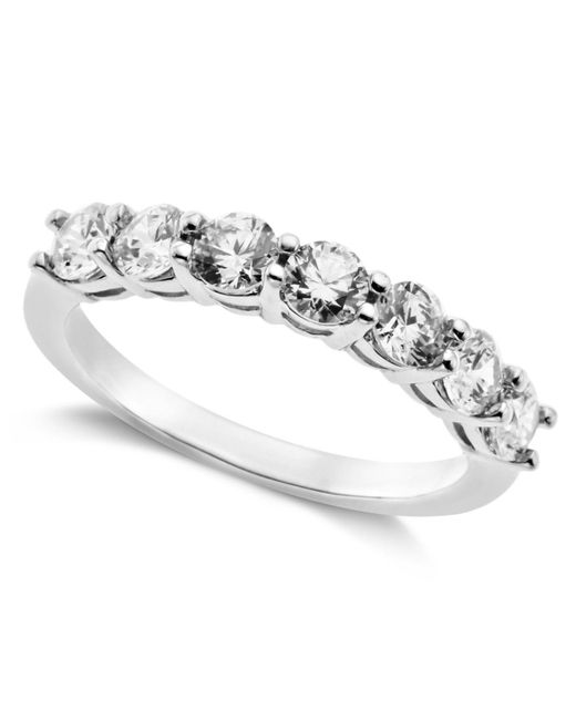 Arabella - Metallic Sterling Silver Ring, Swarovski Zirconia 7-stone Ring (2-1/6 Ct. T.w.) - Lyst