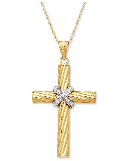 Macy's | Metallic Two-tone Textured Cross Pendant Necklace In 14k Gold & White Gold | Lyst