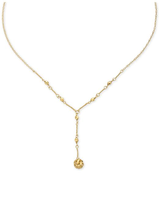 Macy's | Metallic Bead And Twist Lariat Necklace In 10k K Gold | Lyst