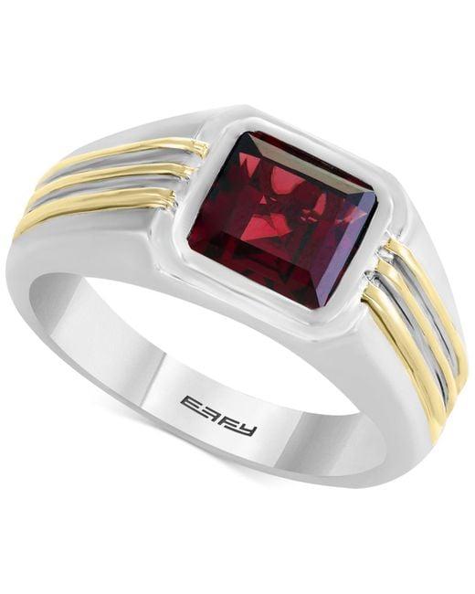 Effy Collection - Metallic Men's Rhodalite Garnet Two-tone Ring (3 Ct. T.w.) In Sterling Silver & 14k Gold - Lyst
