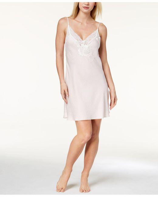Linea Donatella - Pink Sheer Lace V-back Chemise - Lyst