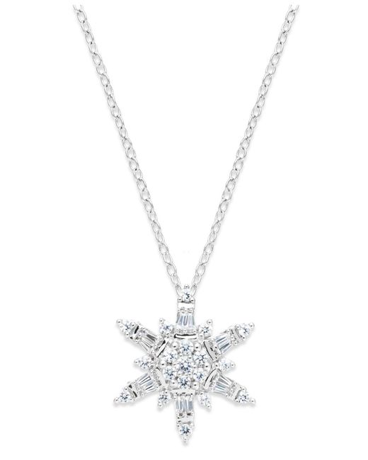 Macy's - Diamond Snowflake Pendant Necklace In 14k White Gold (1/2 Ct. T.w.) - Lyst