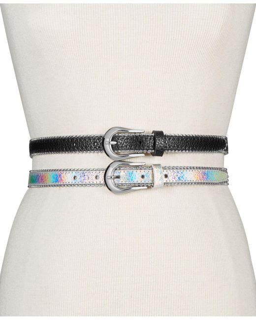 Steve Madden - Metallic 2-for-1 Skinny Belts - Lyst