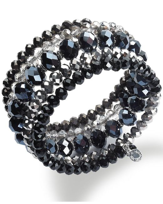 INC International Concepts - Silver-tone Jet And Metallic Beaded Coil Bracelet - Lyst