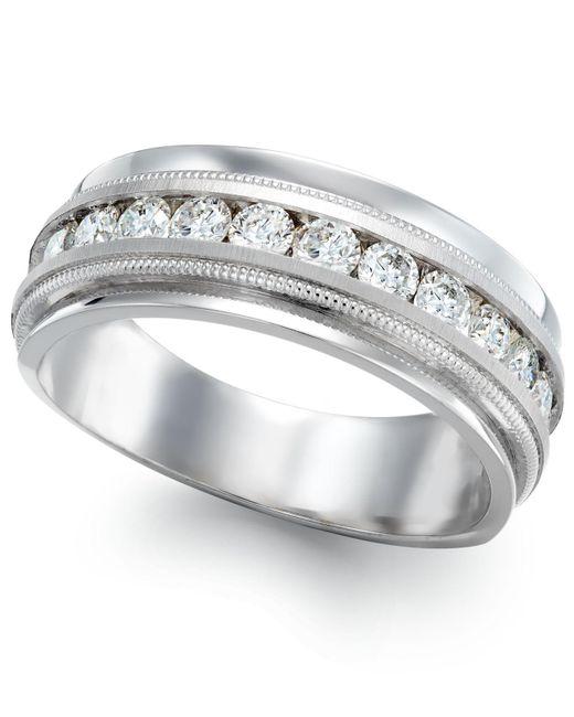 Macy's - Men's Diamond Milgrain Trim Ring In 14k White Gold (1 Ct. T.w.) for Men - Lyst