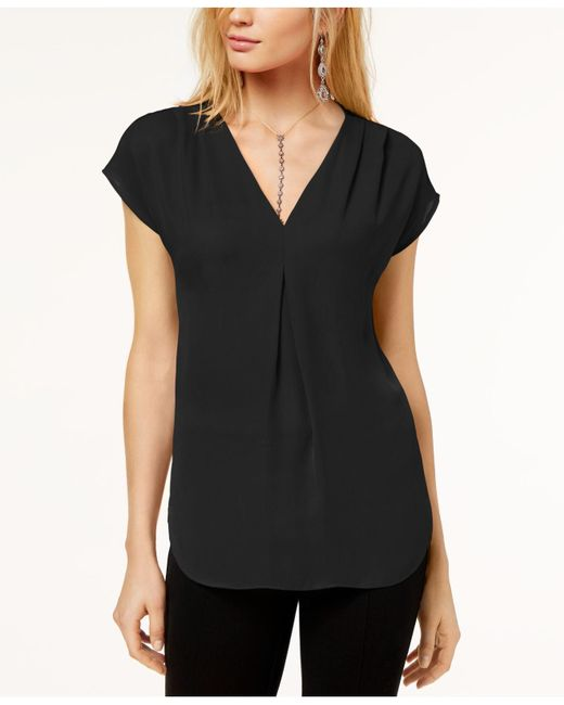 INC International Concepts - Black Inverted-pleat V-neck Top, Created For Macy's - Lyst