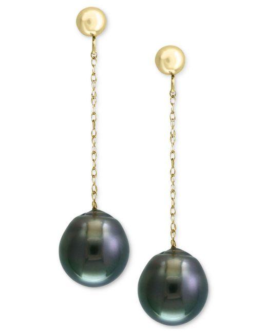 Effy Collection - Metallic Pearl By Effy® Cultured Black Tahitian Pearl (9mm) Drop Earrings In 14k Gold - Lyst