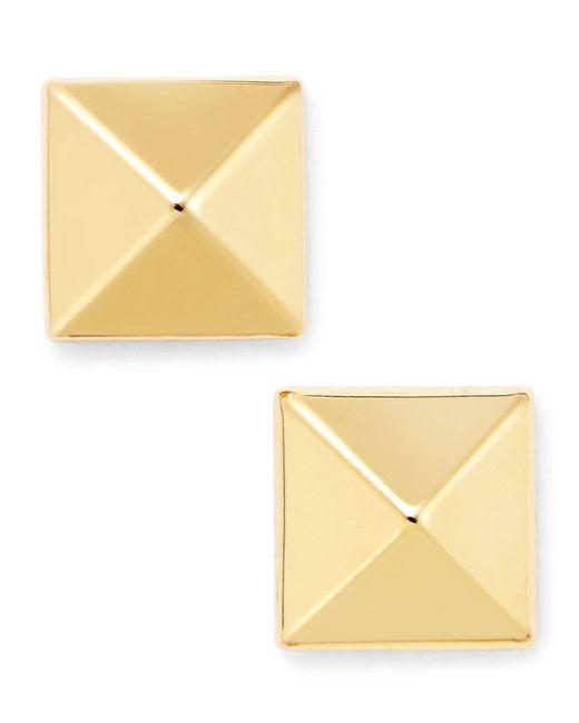 Macy's | Metallic 14k Gold Earrings, 8mm Pyramid Stud Earrings | Lyst