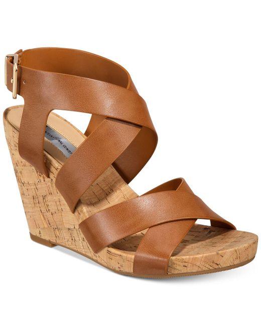 INC International Concepts Brown Women's Landor Strappy Wedge Sandals