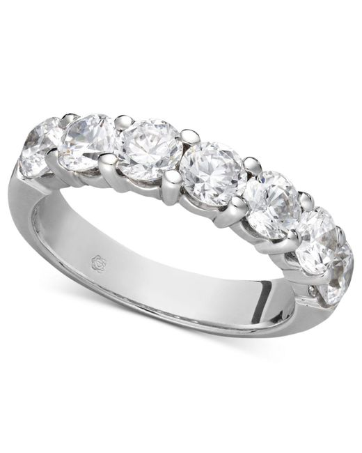 Macy's Gray Certified Seven Diamond Station Band Ring In 14k White Gold (2 Ct. T.w.)